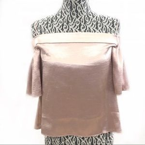 Alythea rose gold off the shoulder satin medium